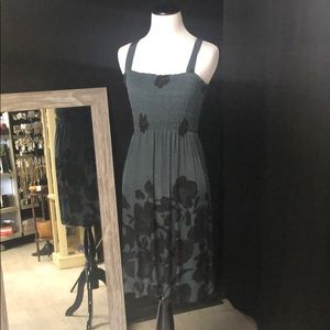 Gray and black floral print elastic bust sundress